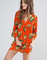 Asos Bright Tropical Traditional Shirt & Short Pajama Set