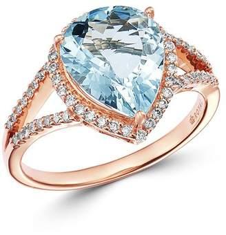 Bloomingdale's Pear-Shaped Aquamarine & Diamond Ring in 14K Rose Gold - 100% Exclusive