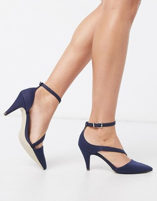 Call it SPRING aerracia mid heel cross strap shoes in navy