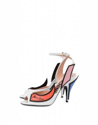 Moschino Slice Calfskin High Sandals Woman White Size 36 It - (6 Us)