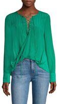 Derek Lam 10 Crosby Draped Silk Lace-Up Blouse