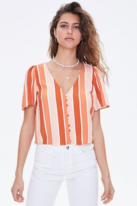 Forever 21 Striped Button-Front Top