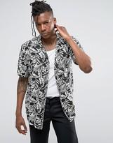 Pull&bear Short Sleeve Floral Shirt In Black