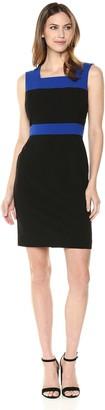 Lark & Ro Amazon Brand Women's Sleeveless Square Neckline Colorblocked Dress