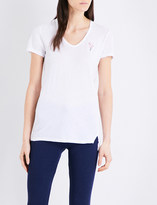 Sundry Flamingo-embroidered cotton-jersey T-shirt