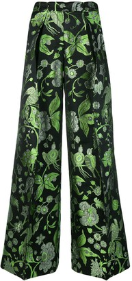 Christian Pellizzari foliage print palazzo trousers