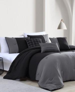Onyx House Tillman Enzyme 6 Piece Color Block Comforter Set, King Bedding