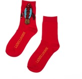 Laines London Bright Red Bamboo Cotton Socks With Rocket Brooch