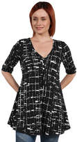 24/7 Comfort Apparel 24Seven Comfort Apparel Amina Henley Style Black and White Tunic Top