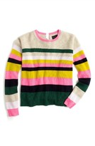 J.Crew Women's Carine Pop Stripe Italian Cashmere Sweater