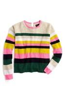 J.Crew Women's Carine Pop Stripe Italian Cashmere Sweater