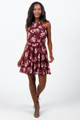 francesca's Mabrey Floral Flawless Dress - Burgundy