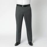 Centaur Big & Tall Charcoal Herringbone Washable Flat Front Suit Trouser