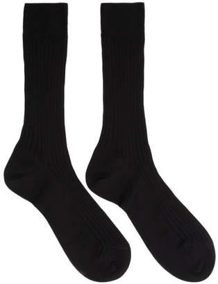 Ermenegildo Zegna Black Rib Socks