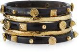 Ashley Pittman Sura Set of 5 Bangles, Dark Horn