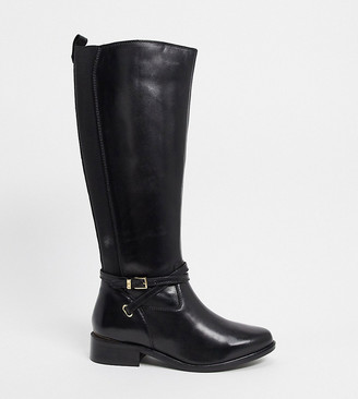 Dune true wide fit knee high buckle boots in black leather