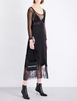 Off-White Eyelash-trimmed sleeveless satin and lace slip dress