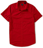 Armani Exchange Pocket Short-Sleeve Solid Woven Shirt