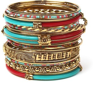 Amrita Singh Women's Bracelets Turquoise/Red - Teal & Red Monte Carlo Bangle Set