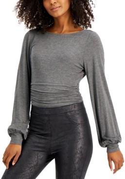 Bar III Ruched-Waist Blouson-Sleeve Bodysuit, Created for Macy's