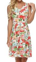 ACEVOG Sleeveless Floral Fit and Flare Party Short Mini Dress for Women