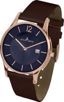 Jacques Lemans Men's Classic London 38mm Brown Leather Band Rose Gold Plated Case Quartz Watch 1-1850I