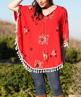 Ananda's Collection Women's Blouses RED - Red Floral Patchwork Tassel-Trim Poncho - Juniors
