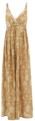La Costa Del Algodón La Costa Del Algodon - Juliette Empire-waist Cotton-muslin Nightdress - Womens - Brown Print