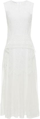 Alberta Ferretti Paneled Guipure Lace And Chiffon Midi Dress