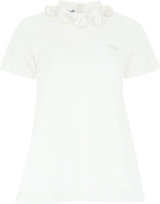 Prada Shell Embellished Collar T-Shirt