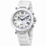 Mother of Pearl Stuhrling Prestige Women's 512L.131P2 Swiss Athena Mother-Of-Pearl Swarovski Crystal Chronograph Multi-Function White Ceramic Watch