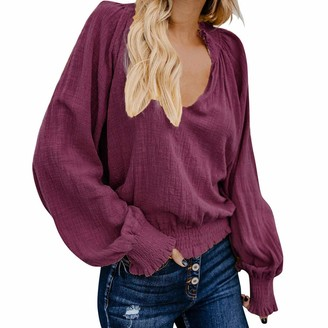 Sunday77 Blouse Women Blouse Top Sunday77 V-Neck Solid Linen Short Puff Sleeve Ruched Loose Long Sleeve Casual Shirt Pullover (Wine S)