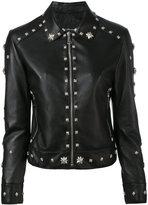 John Richmond floral studded biker jacket - women - Lamb Skin/Polyester - S