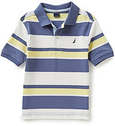 Nautica Little Boys 4-7 Striped Ribbed Short-Sleeve Polo Shirt