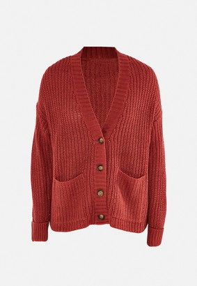 Missguided Terracotta Button Front Oversized Knitted Cardigan
