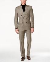 Lauren Ralph Lauren Men's Brown Neat Pindot Double-Breasted Ultraflex Pure Wool Classic-Fit Suit