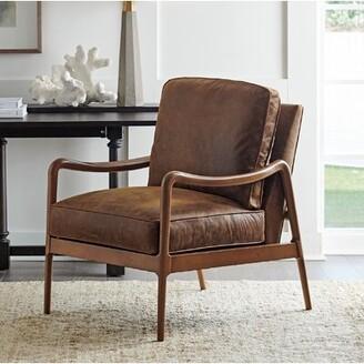 "Barclay Butera Leblanc 29"" W Full Grain Leather Armchair"