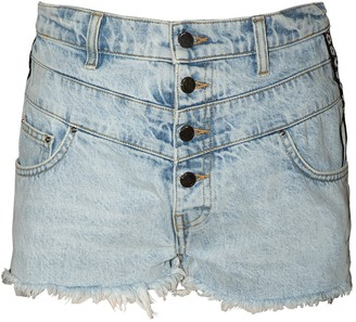 Amiri High-waisted Frayed Hem Shorts Sky Indigo