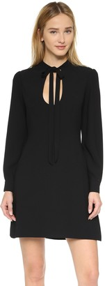 Jill Stuart Jill Women's Long Sleeve Cocktail Dress Front Cut Out and Tie at The Neck