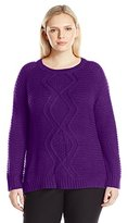 Notations Women's Plus Size Crew Neck Diamond Mix Stitch Cable Pullover Sweater