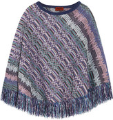 Missoni Crochet-knit Wool Poncho - Purple