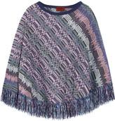 Missoni Crochet-knit Wool Poncho - Purple