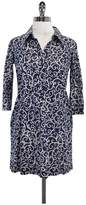 Lilly Pulitzer Navy & White Print Cotton Shirt Dress