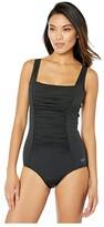 Speedo Solid Shirred Tank One-Piece Black) Women's Swimsuits One Piece