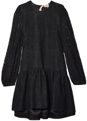 No.21 Lace Sleeve A-Line Dress in Black