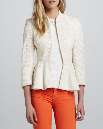 Alice + Olivia Polly Lace Peplum Jacket