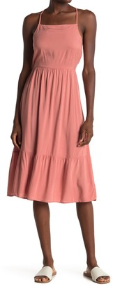 Bobeau Square Neck Sleeveless Flounced Midi Dress