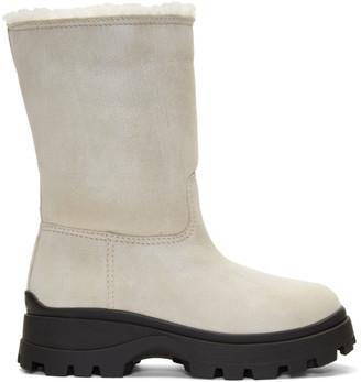 Miu Miu White Eco Fur Boots