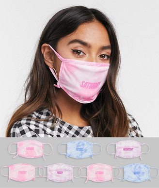 Skinnydip Exclusive 7 pack week day face covering with adjustable straps in pink and blue tie dye