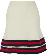 Gucci Pleated Ribbed Wool Mini Skirt - Ivory